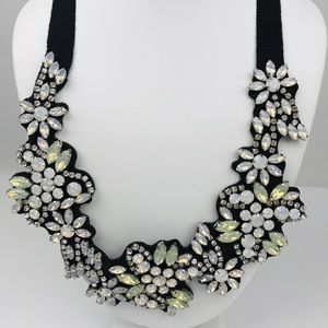 J. Crew white frosted crystal Fabric necklace